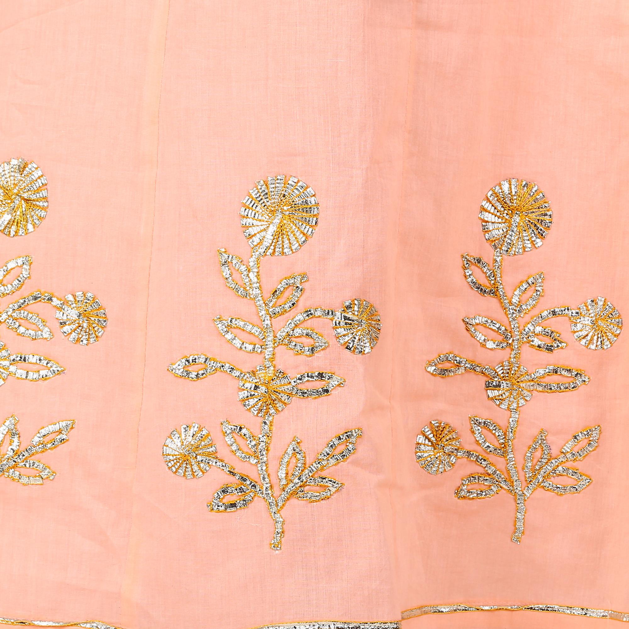 d961610bb6d Plus Size Anarkali Peach Solid Cotton Kurta with Charki Gota work in Size  4XL
