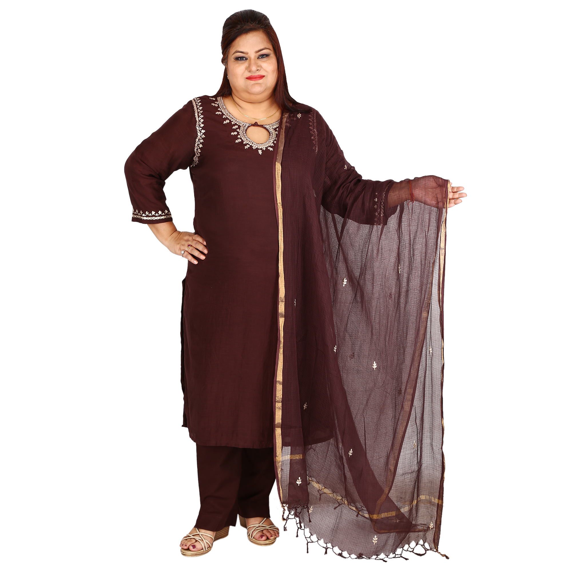 936888d20f5 Damyantii Plus Size Women s Solid Brown Cotton Silk Kurta and Duppatta in  Size 2XL