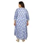 Damyantii Women's Blue Floral Printed Long Length Cotton Dress in Sizes: 2XL – 5XL