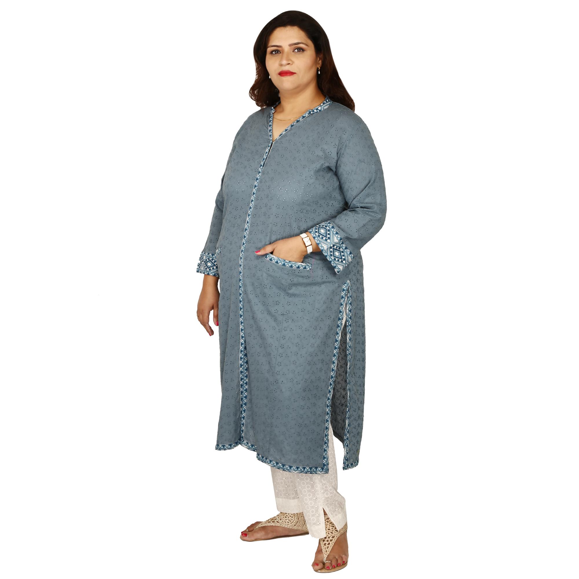 Damyantii Women s Plus Size Cotton Straight Kurti in Chikan ... 1009411d503