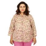 Damyantii Women's Plus Size Cotton Front Button Shirt