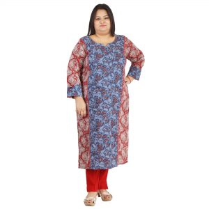8a955145918 Damyantii Women s Red and Blue Cotton Long Length Kurti for Plus Size in  2XL