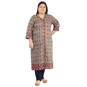 ae8fc9b6861 Damyantii Women s Grey Cotton Long Length Kurti with Contrast border for  Plus Size in 2XL