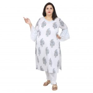 dd9af5c247b1 Damyantii Plus Size 2XL 3XL 4XL 5XL Kurta for Women in Grey and Blue Color  with ouble Bell Sleeves in Chest Sizes 48, 52, 56 & 60 inches
