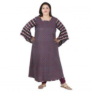 141b6d17dbe2 Damyantii Plus Size 2XL 3XL 4XL 5XL Indigo Dress for Women in Chest Sizes  48, 52, 56 & 60 inches