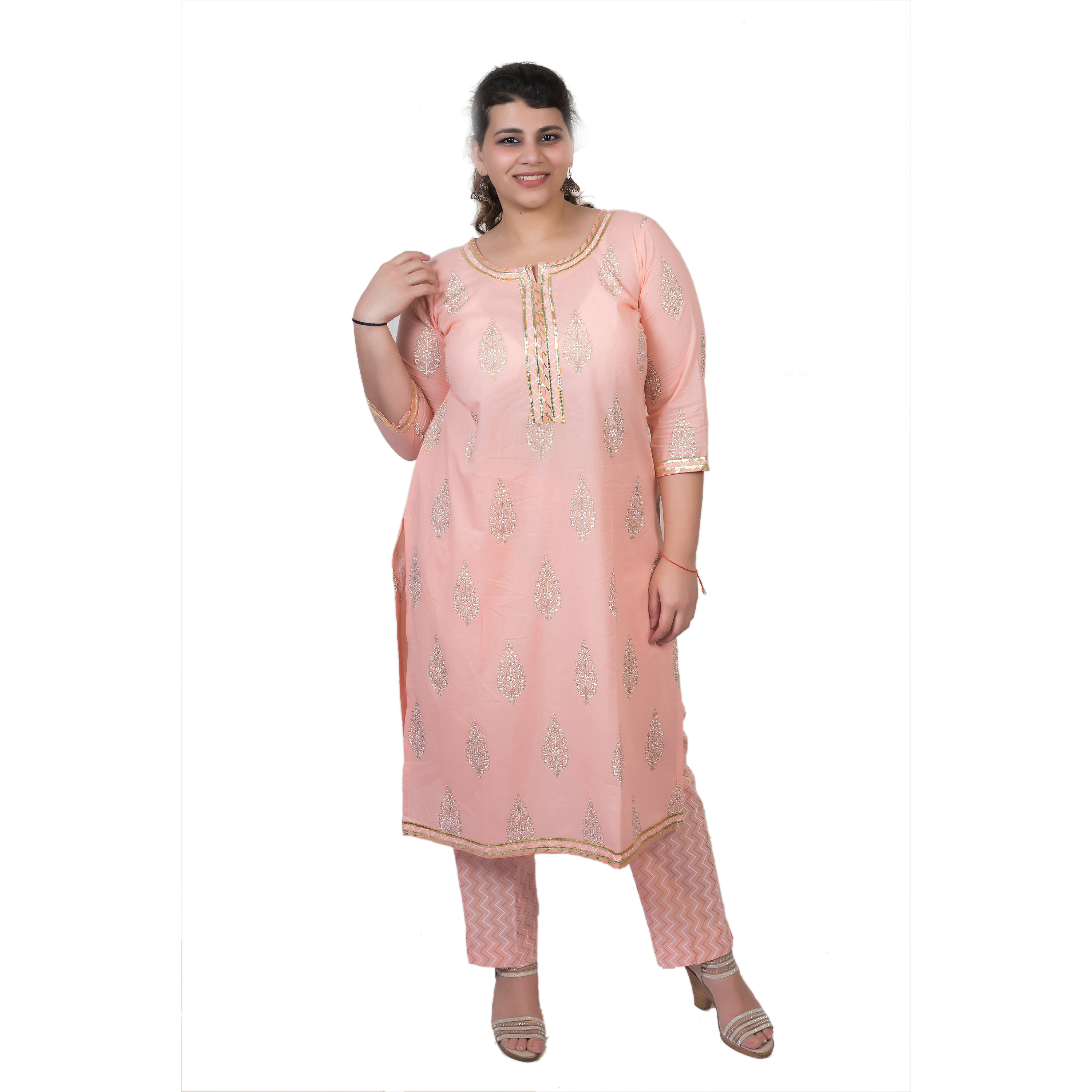 a333259e72f4 Damyantii Plus Size 2XL 3XL 4XL 5XL Kurtas for Women in Peach Color with  Gota Detailing and Handblock Print All Over in Chest Sizes 48, 52, 56 & 60  inches
