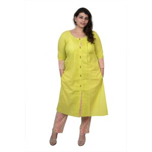 ac8c2ede9911 Damyantii Plus Size 2XL 3XL 4XL 5XL Kurtas for Women in Green Color with  Button Detailing in Chest Sizes 48, 52, 56 & 60 inches