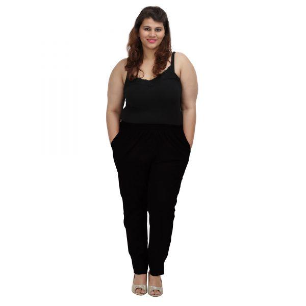 Plus Size Black Cotton Pants