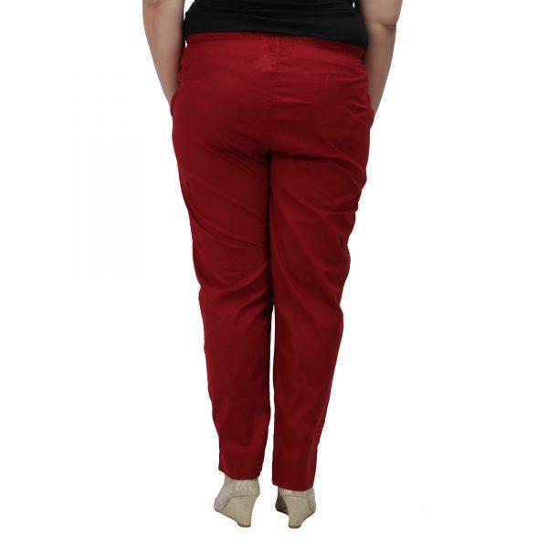 Plus Size Maroon Cotton Pant