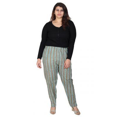 Plus Size Cotton Cyan Printed pants