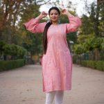 Bhandej Peach Printed Cotton Kurta