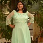 Pistaa Green Net Gown with Embroidered Yoke