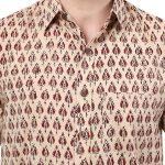 Hand Block Print Jaipuri Beige Boota Men's Shirt (BSHS0309)