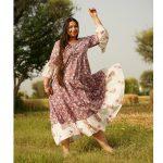 Lilac Mughal Print Tiered Dress